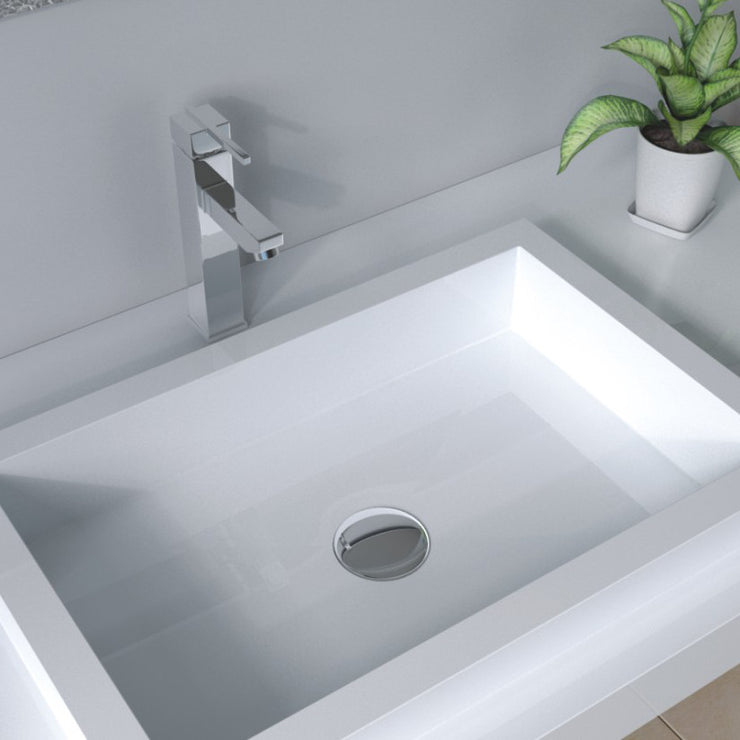 DW-124 Rectangular Wall Mounted Sink Shown Installed