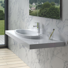 DW-125 Rectangular Wall Mounted Sink Shown Installed