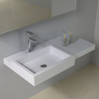 DW-127 Rectangular Wall Mounted Sink Shown Installed