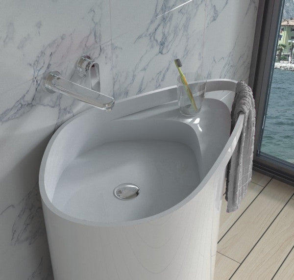 DW-128 Oval Freestanding Sink Shown with Towel Rack Feature