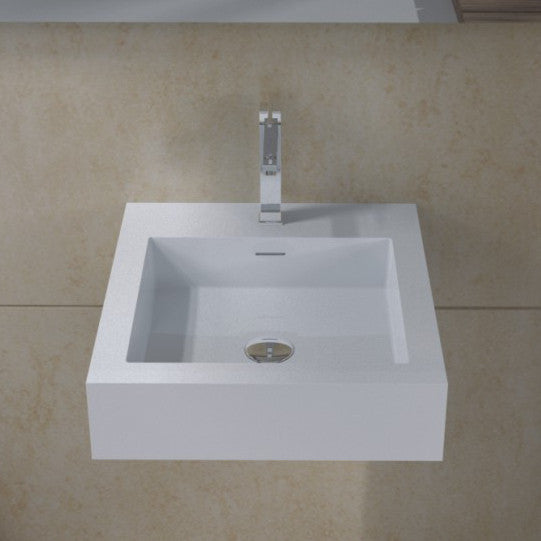 DW-132 Square Freestanding Wall Mounted Countertop Sink in White Finish Shown with Separate Faucet