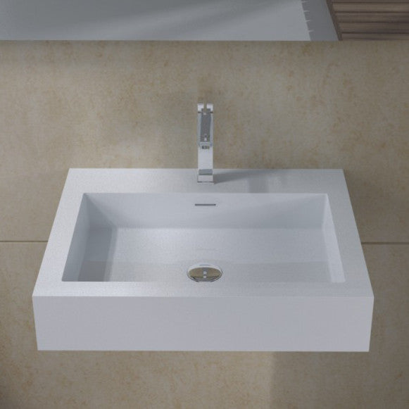 DW-133 Rectangular Wall Mounted Sink in White Finish Shown with Separate Faucet