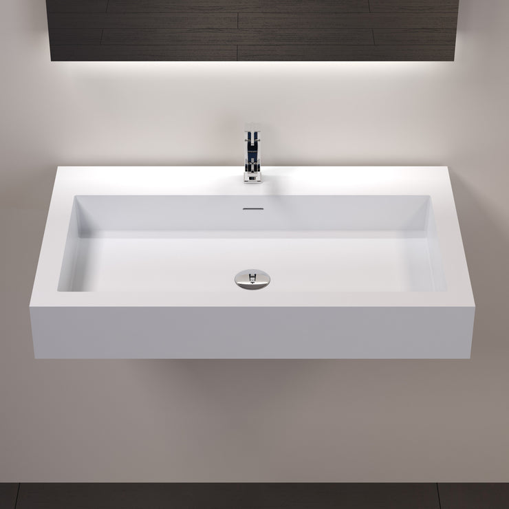 DW-134 Rectangular Wall Mounted Sink in White Finish Shown Installed with Separate Faucet