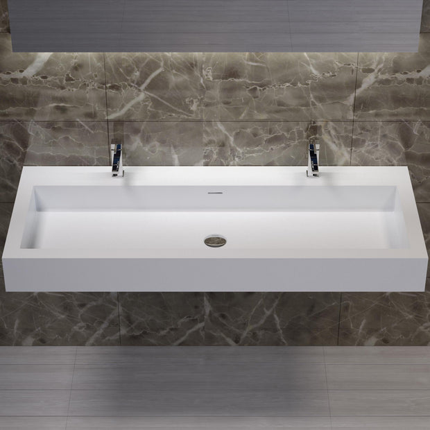 DW-136 Double Rectangular Wall Mounted Sink in White Finish Shown Installed with Separate Faucet