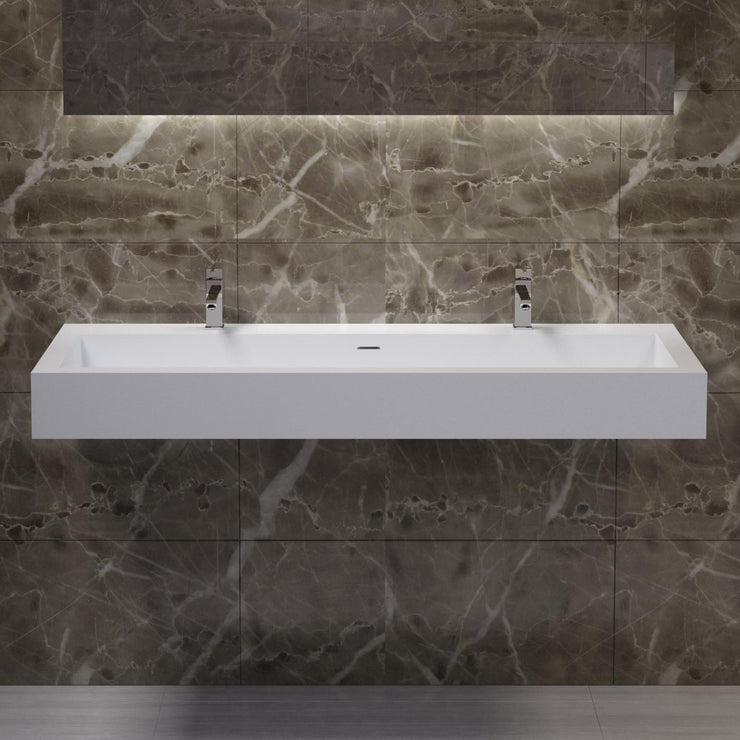 DW-136 Double Rectangular Wall Mounted Sink in White Finish Shown Installed
