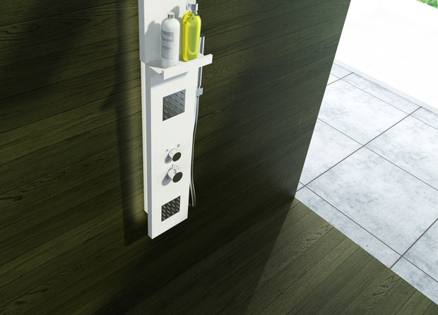 SH-102W Shower Panel System with Shower Sprayer in White Finish Shown Installed