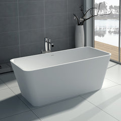 SW-103M Rectangular Freestanding Bathtub Shown Installed with Tub Filler