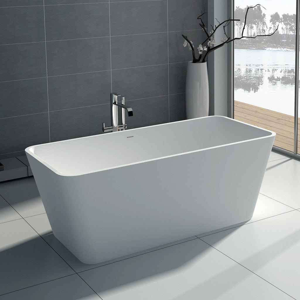 SW-103S Rectangular Freestanding Bathtub Shown Installed with Tub Filler