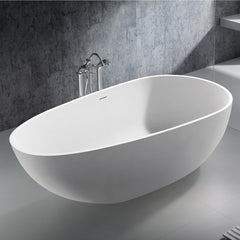SW-105L Oval Freestanding Bathtub Shown Installed with Tub Filler