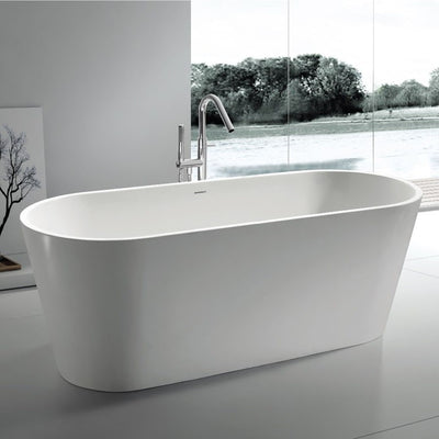 SW-106 Round Freestanding Bathtub Shown Installed with Tub Filler