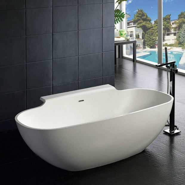 SW-111 Elipsed Freestanding Bathtub Shown Installed with Tub Filler