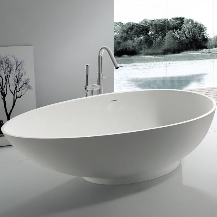 SW-113 Oval Freestanding Bathtub Shown Installed