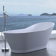 SW-118 Slippered Freestanding Bathtub Shown Installed with Tub Filler