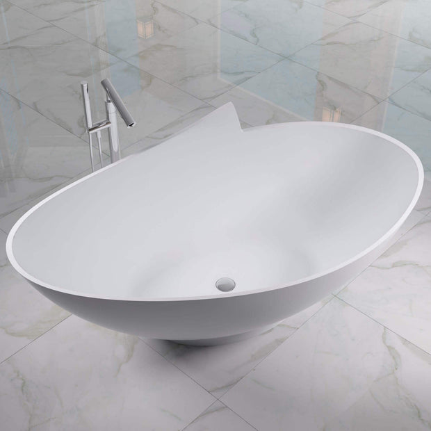 SW-127 Round Freestanding Bathtub Shown with Separate Faucet