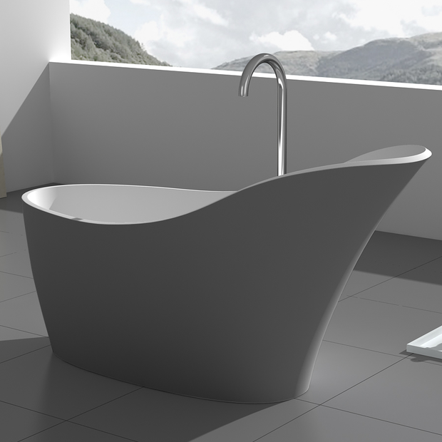 SW-137G Freestanding Bathtub in Grey Shown Installed with Separate Tub Filler