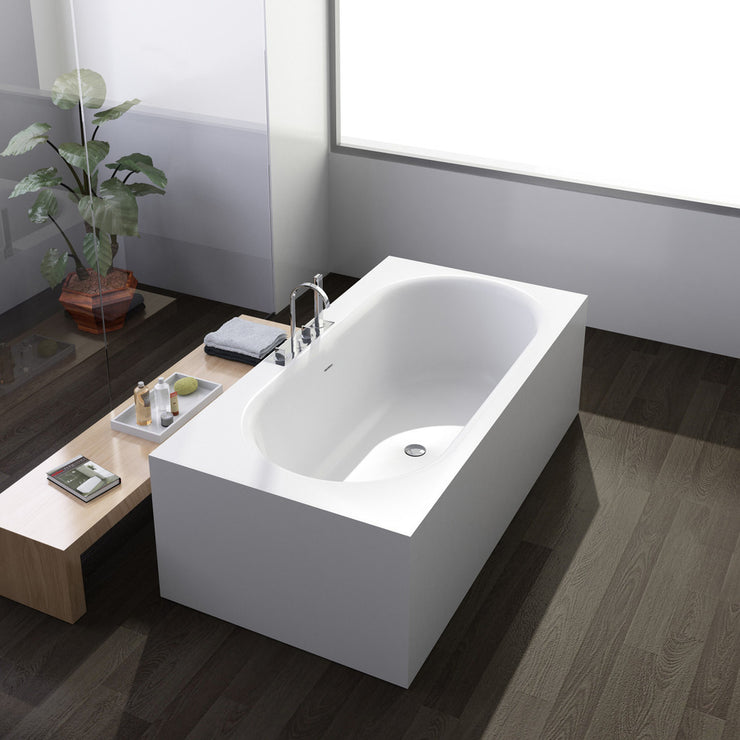 SW-139 Round Freestanding Bathtub Shown Installed with Tub Filler