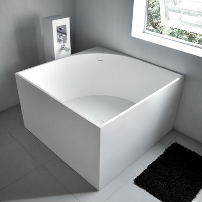 SW-148 Square Freestanding Bathtub Shown Installed