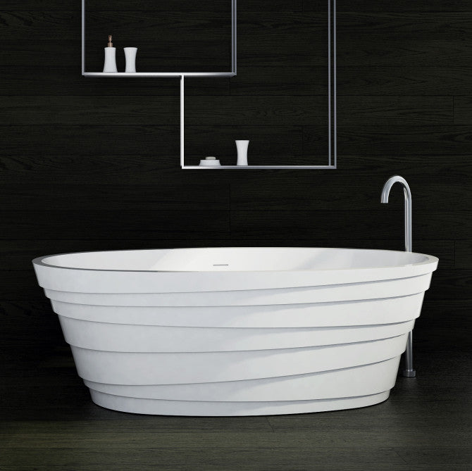 SW-150 Layered Freestanding Bathtub Shown Installed