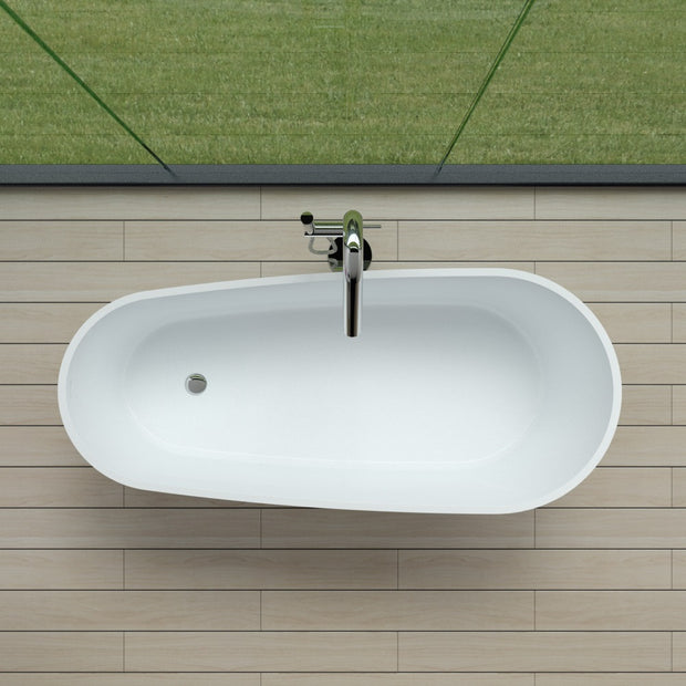 SW-161 Round Freestanding Bathtub in White Finish Shown Installed