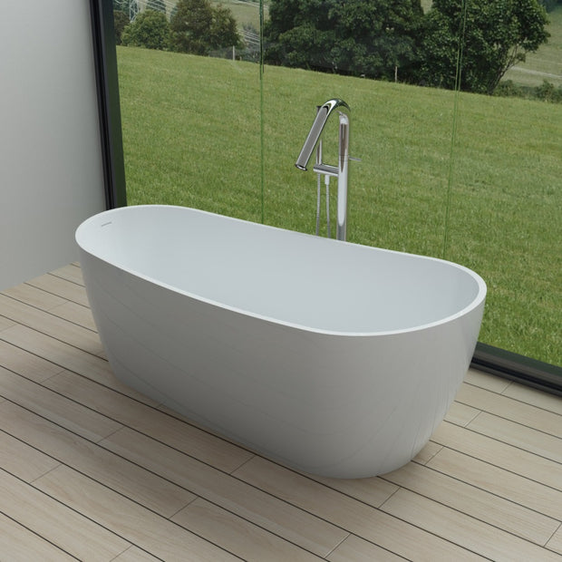 SW-161 Round Freestanding Bathtub in White Finish Shown Installed with Separate Tub Filler