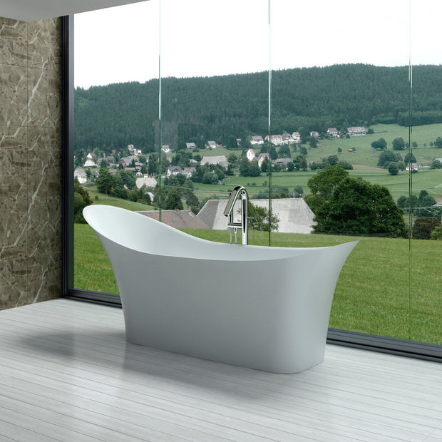 SW-163 Curved Contemporary Freestanding Bathtub in White Finish Shown Installed with Separate Tub Filler