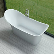SW-163 Curved Contemporary Freestanding Bathtub in White Finish Shown Installed