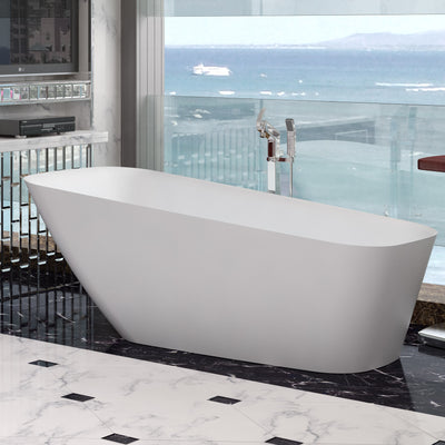 SW-121 Rectangular Freestanding Bathtub Shown Installed with Tub Filler