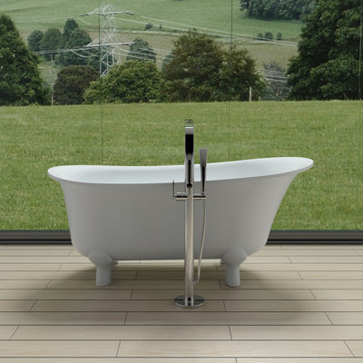 SW-128 Round Freestanding Bathtub Shown Installed with Tub Filler