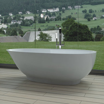 SW-132 Round Freestanding Bathtub Shown Installed with Tub Filler