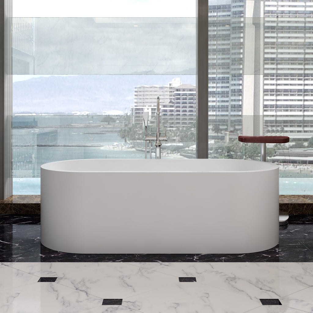 SW-165 Oval Freestanding Bathtub in White Finish Shown Installed with Separate Tub Filler