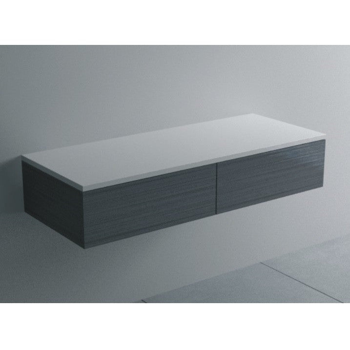 CB-103-BB Wall Mounted Rectangular Cabinet Counter in White with Black Brushed Drawers Shown