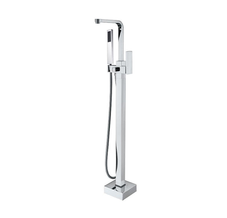 BF-111CH Freestanding Bathtub Filler Faucet with Shower Sprayer Shown in Chrome Finish