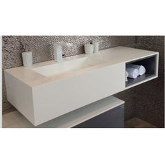 DW-195 Rectangular Countertop Sink Integrated in White Finish Shown Installed with Separate Faucet