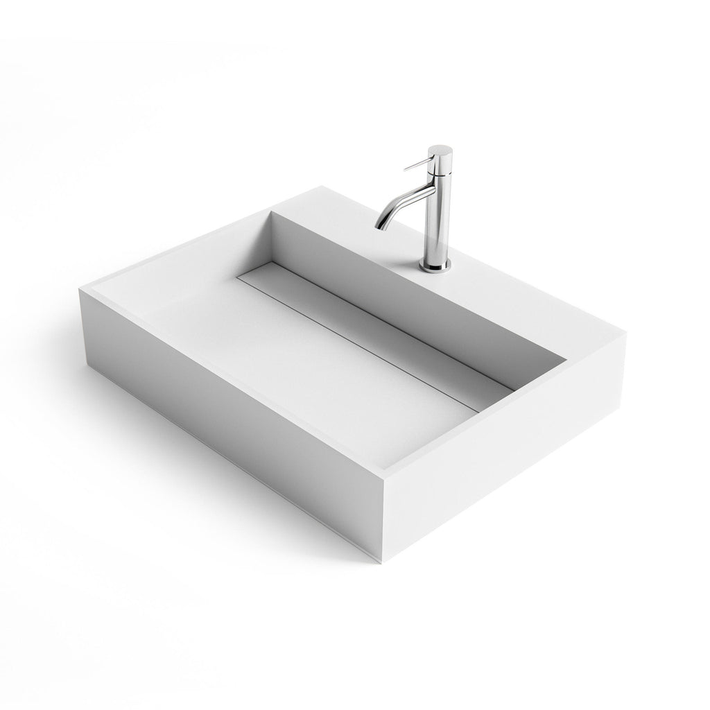 DW-158 Rectangular Wall Mounted Countertop Sink in White Finish Shown with Separate Faucet