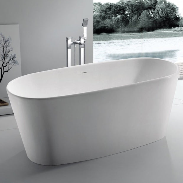 SW-102 Round Freestanding Bathtub Shown Installed with Tub Filler