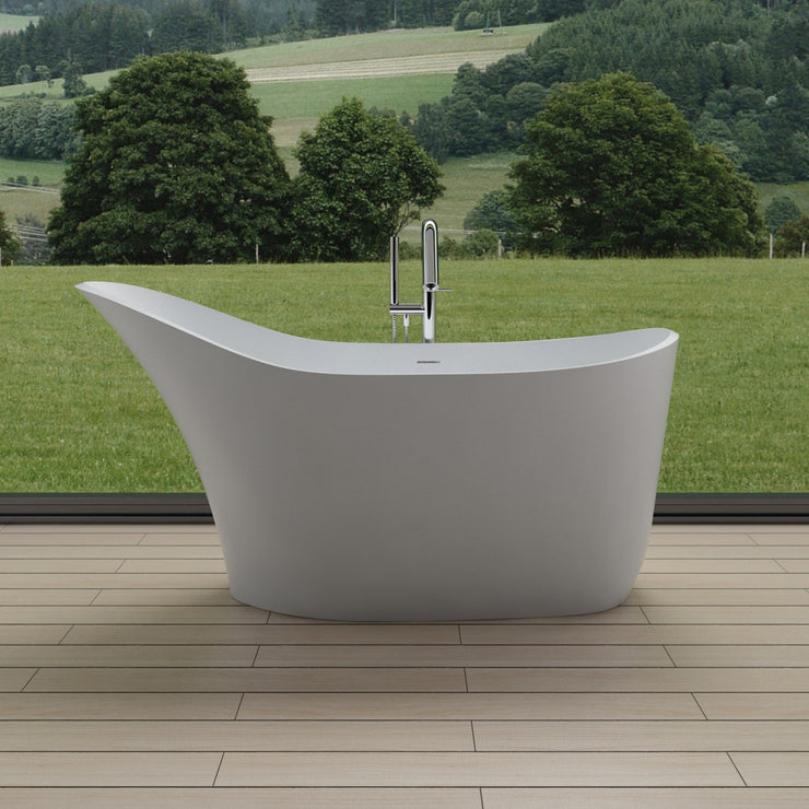 SW-112 Slippered Freestanding Bathtub Shown Installed with Tub Filler