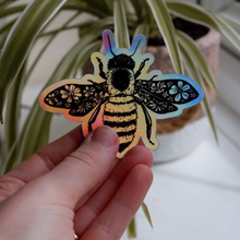 Load image into Gallery viewer, Holographic Vinyl Bee Sticker