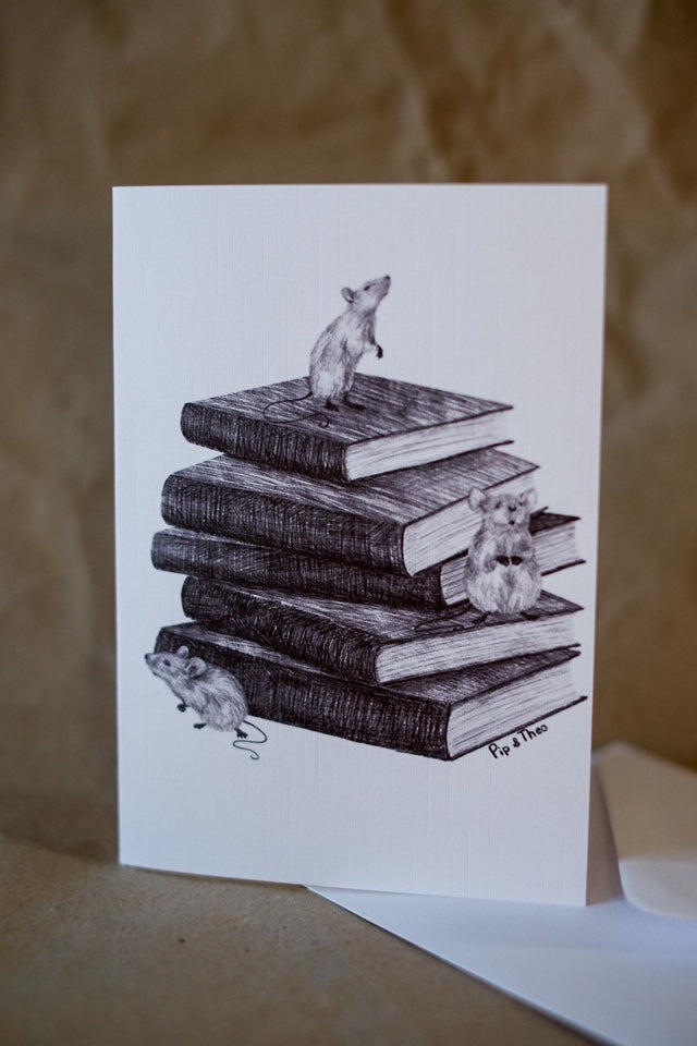Reading Mice Greeting Card