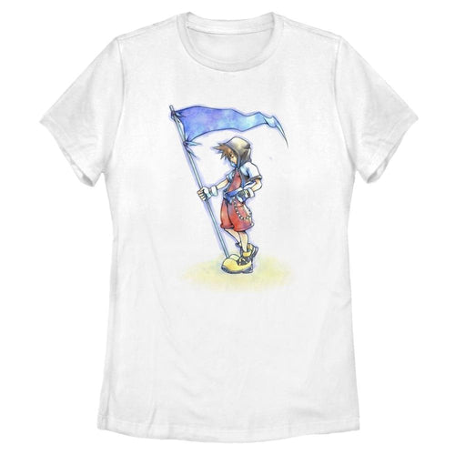 Sora With Flag - Kingdom Hearts White Women's Tee-IGN Store