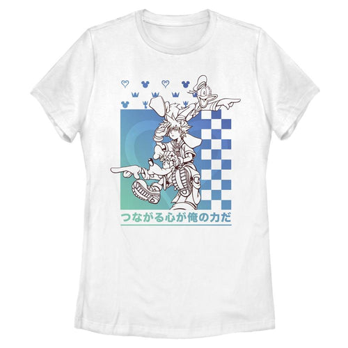 Sora and Power Friends - Kingdom Hearts White Women's Tee-IGN Store
