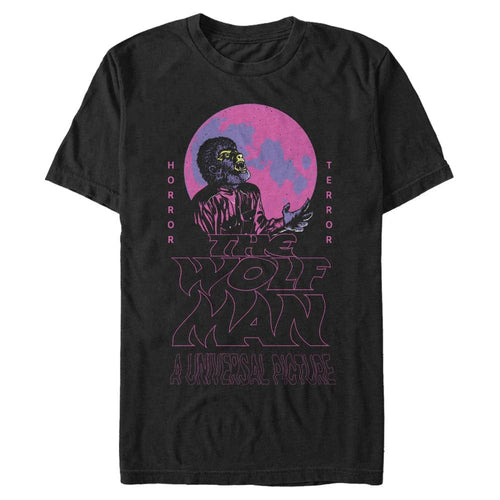 Wolfman Neon Wave - Universal Movie Monsters Black T-Shirt