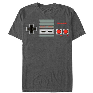 Push My Buttons - Nintendo T-Shirt, Heather Charcoal