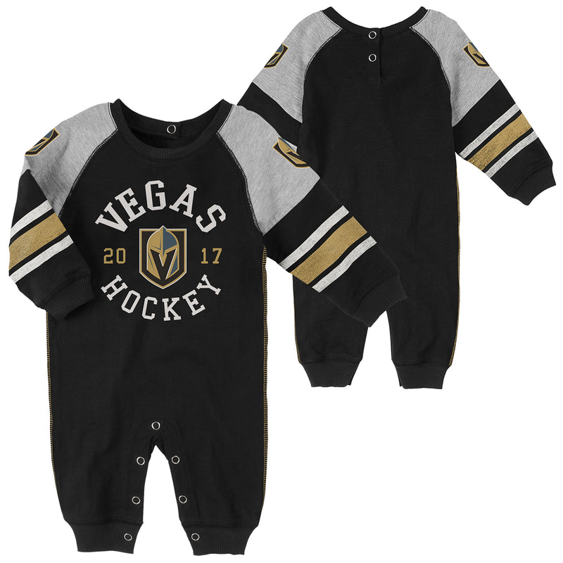 Vegas Golden Knights Outerstuff Infant Old Soul Long Sleeve Romper - Black - VegasTeamStore