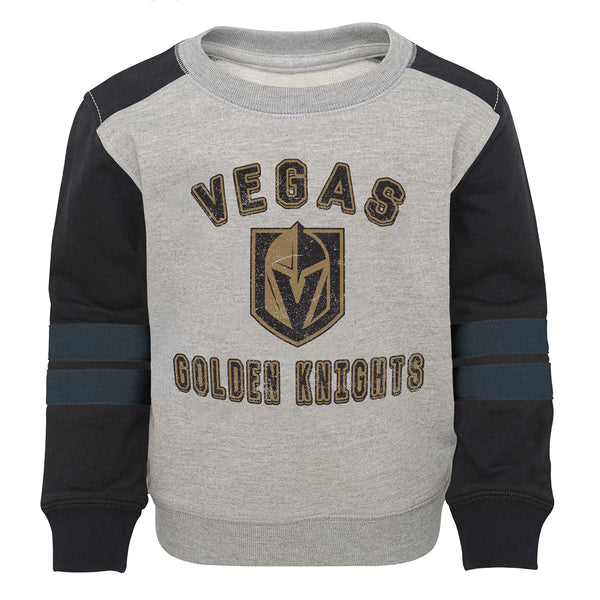 Vegas Golden Knights Outerstuff Toddler Retro French Terry Crew - Grey/Black - VegasTeamStore