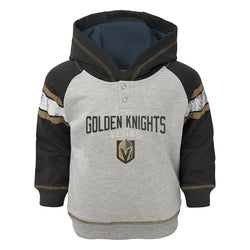 Vegas Golden Knights Outerstuff French Terry Infant Stripe Hoodie - Grey/Black - VegasTeamStore