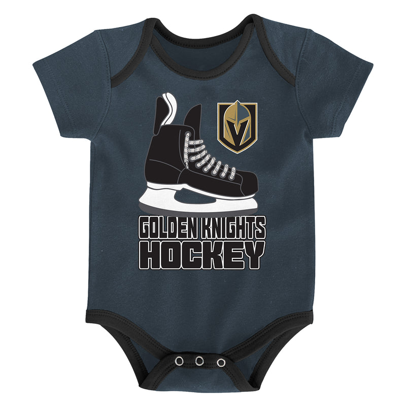Vegas Golden Knights Outerstuff Infant 3-pack Hat Trick Creeper Set - VegasTeamStore