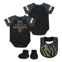Vegas Golden Knights Outerstuff Infant Little Man Creeper Bib & Booties Set