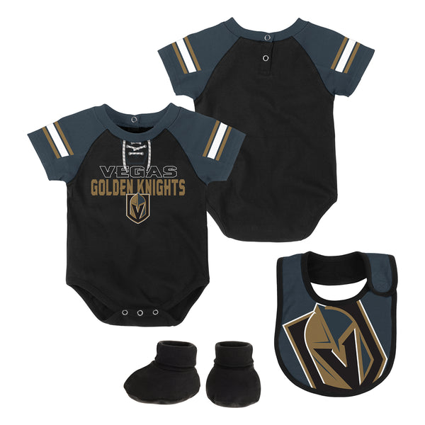 Vegas Golden Knights Outerstuff Infant Little Man Creeper Bib & Booties Set - VegasTeamStore