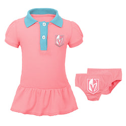 Vegas Golden Knights Outerstuff Infant Girls Prepster Polo Dress - Pink