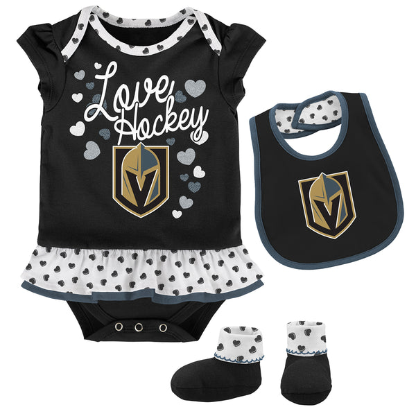 Vegas Golden Knights Outerstuff Infant Girls Love Hockey Creeper Bib & Booties Set - Black/White - VegasTeamStore